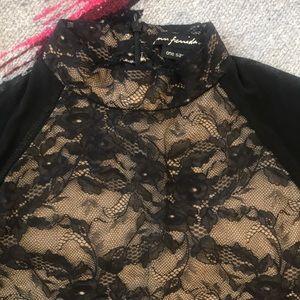 Sheer Black Long Sleeve Top w/ Nude Bodice